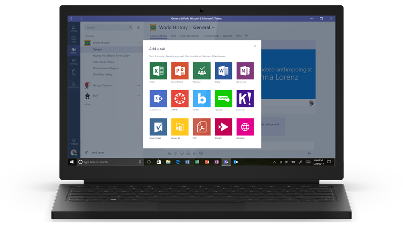 Microsoft - Teams Apps auf Notebook